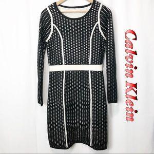 Calvin Klein- Black & White scoop sweater dress M